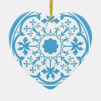 Blaues Blumenmuster Keramik Herz-Ornament