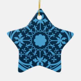 Blaues Blumenmuster Keramik Stern-Ornament