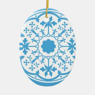 Blaues Blumenmuster Ovales Keramik Ornament