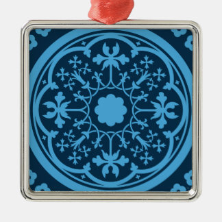 Blaues Blumenmuster Quadratisches Silberfarbenes Ornament