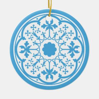 Blaues Blumenmuster Rundes Keramik Ornament