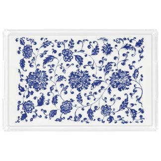 Blaues BlumenServiertablett Acryl Tablett