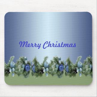 Blaues Blumenweihnachten verziert Luxus Mauspad