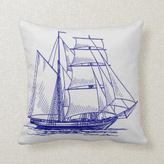 blaues Boots-Segelschiffkissen Kissen