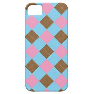 Blaues, braunes und rosa kariertes Muster Schutzhülle Fürs iPhone 5