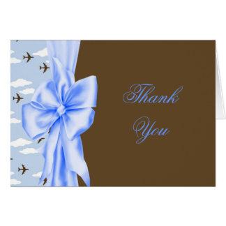 Blaues Brown-Flugzeug-Baby danken Ihnen Karten