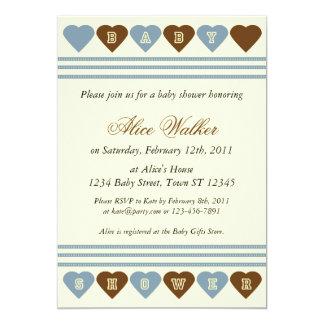 Blaues Brown-Herz-Babyparty-Einladung