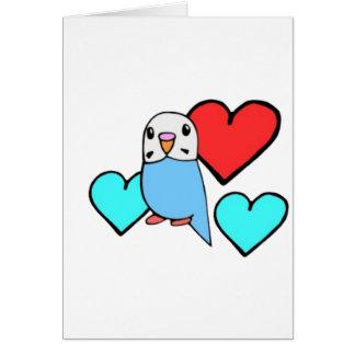 Blaues Budgie mit Herzen Karte