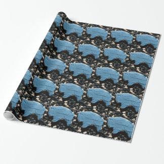 Blaues Büffel-Ausschnitt-Plätzchen jjhelene Geschenkpapier