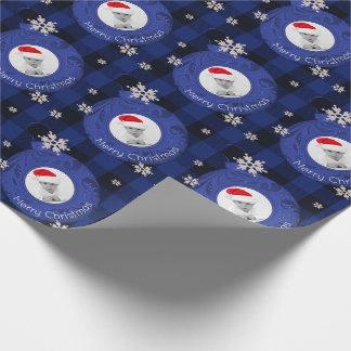 Blaues Büffel-Karo-frohe Weihnacht-Foto Geschenkpapier