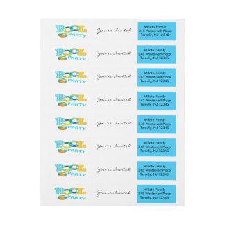 Blaues buntes Pool-Party-Umgriffsadressen-Etikett Rundum-Adressaufkleber