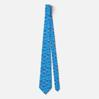 Blaues Cartoon-Gesichts-Muster Krawatte