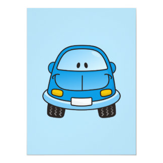 Blaues Cartoonauto Individuelle Ankündigung