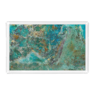 Blaues Chrysocolla Steinbild Acryl Tablett