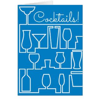 Blaues Cocktail-Party Karte