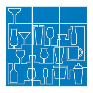 Blaues Cocktail-Party Triptychon