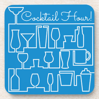 Blaues Cocktail-Party Untersetzer