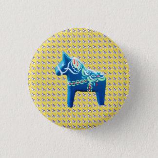 Blaues Dala Pferd Runder Button 2,5 Cm