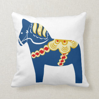 Blaues Dala PferdeWurfs-Kissen Kissen
