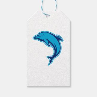 Blaues Delphin-Springen Retro Geschenkanhänger