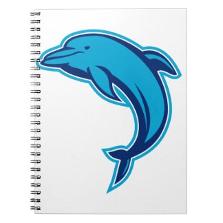 Blaues Delphin-Springen Retro Spiral Notizblock