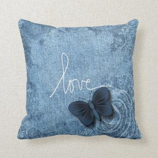Blaues Denim-süße Schmetterlings-Liebe Kissen