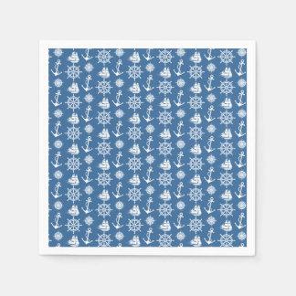 Blaues des Seemanns und weißes nautischmuster Papierserviette