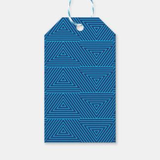 blaues Dreieckmuster Geschenkanhänger