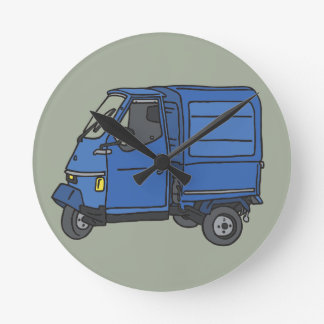 Blaues Dreirad (Foodtruck) Runde Wanduhr