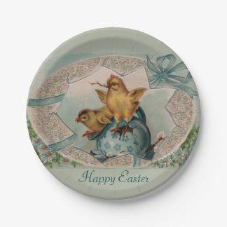 Blaues Ei und Küken-OsternpapierTeller Pappteller