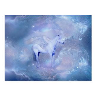 Blaues Einhorn mit Flügelphantasie Postkarte