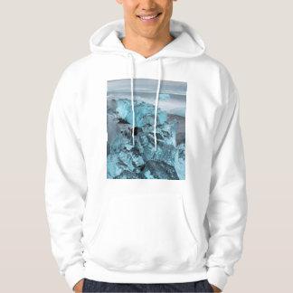 Blaues Eis auf Strand-Meerblick, Island Hoodie
