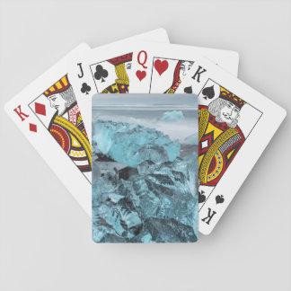 Blaues Eis auf Strand-Meerblick, Island Spielkarten