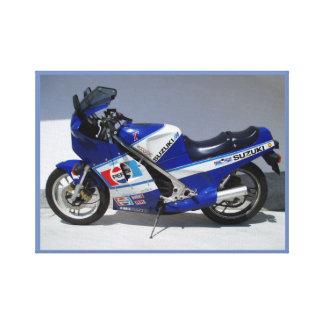 Blaues Eis-Motorrad Leinwanddruck