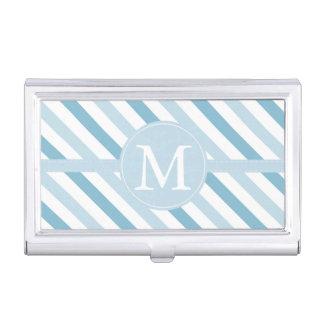 Blaues Eis Stripes Monogramm Visitenkarten Etui