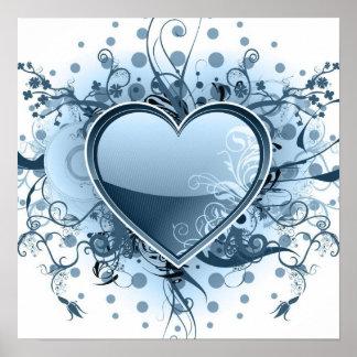 Blaues Emo Herz-Plakat Poster