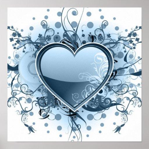 Blaues Emo Herz-Plakat