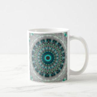 Blaues ErdMandala-Kaleidoskopmuster Kaffeetasse