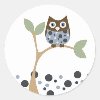 Blaues Eulen-Baby Runder Sticker