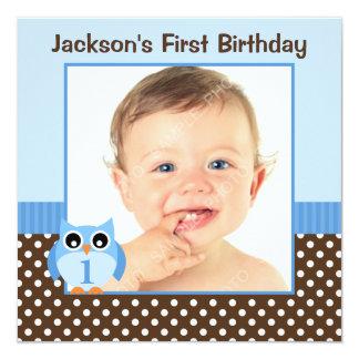 Blaues Eulen-Brown-Polka-Punkt-1. Geburtstags-Jung Personalisierte Einladungskarten