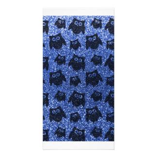 Blaues Eulen-Glittermuster Fotogrußkarten