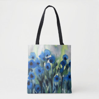 """""""Blaues Feld des abstrakten Watercolor der Blumen Tasche"""