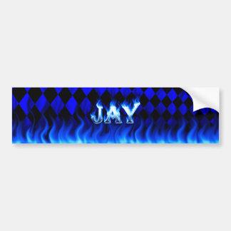 Blaues Feuer des Jay und Autoaufkleber