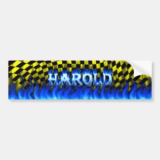 Blaues Feuer Harold und Autoaufkleber