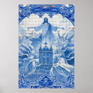 Blaues Fliesenmosaik von Jesus, Portugal Poster