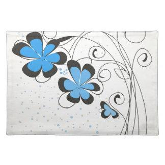Blaues flower2 stofftischset