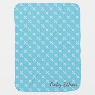 Blaues Flugzeug-Silhouette-Muster für Baby-Jungen Kinderwagendecke