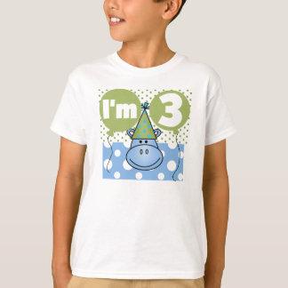 Blaues Flusspferd-3. Geburtstag T-Shirt