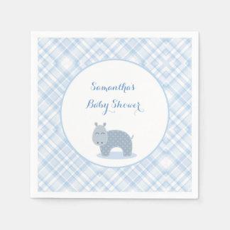 Blaues Flusspferd, kariert, Baby-Dusche Papierserviette