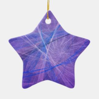 Blaues Fraktal Keramik Stern-Ornament